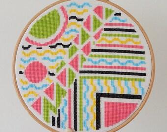 80s cross stitch 'Art Deco Doodle'. cross stitch pattern. 1980s cross stitch. Modern cross stitch. 1980s nostalgia. 80s nostalgia. 80s Deco.