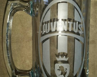 Juventus Sand Carved Glass Mug