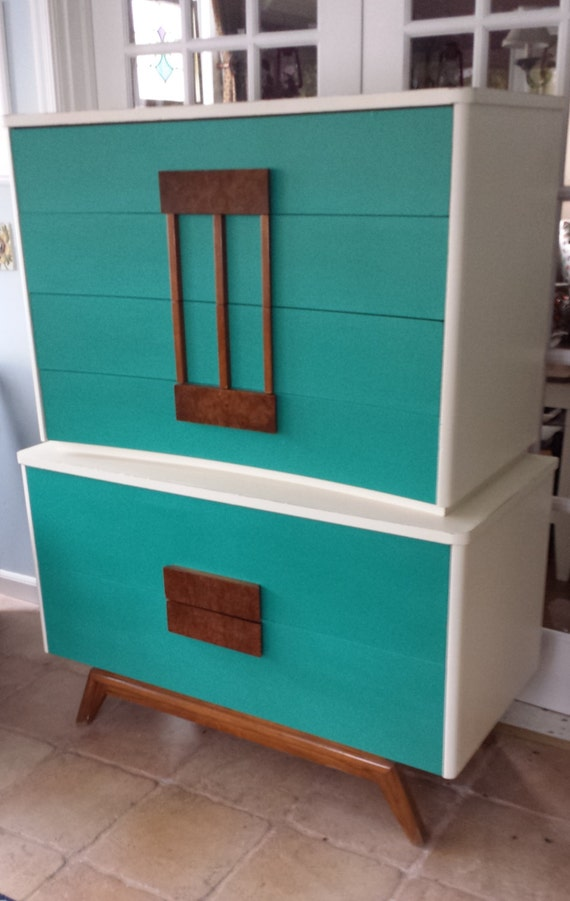 Hand Painted Vintage Mid Century Retro Dresser - LOCAL PICKUP / DELIVERY Only