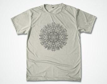 Yoga Shirt Mandala Tshirt Stencil design Mantra Custom Graphic T shirt Spiritual meditation Screen Printed silkscreen - S M L XL