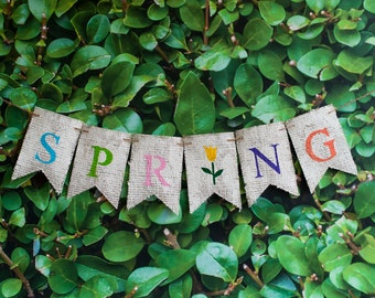 Spring Tulip Banner, Spring Tulip Decor, Spring Burlap Banner, Spring Sign, Tulip Banner, B268