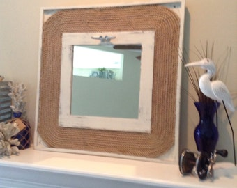 Distressed Nautical Rope Mirror