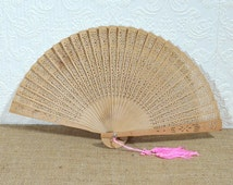 Sandalwood Fan- Vintage Pierced Wood Hand Fan with Pink Tassel, In Original Glass-Topped Box