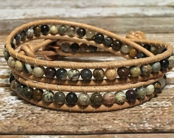 Leather Wrap Bracelet / Chan Luu Style Wrap Bracelet / Healing Crystal Bracelet / Chakra Bracelet