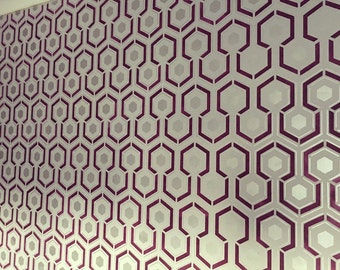 HICKS HEXAGON Repeating All over Wallpaper Stencil / Reusable  / DIY / Home Decor / Interiors / Feature Wall / Wallpaper alternative