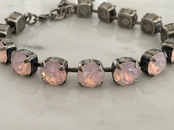Swarovski Rose Water Opal Crystal Bracelet,  Swarovski Pink Opal Tennis Bracelet, Opal Crystal Tennis Bracelet