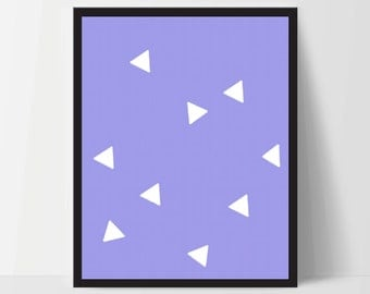 Triangle Wall Print, Blue White, Artwork, Home Decor, Modern Contemporary, Print Art, Instant Download, Boho, Nursery, Baby, Digital