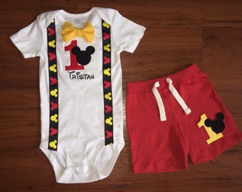 SALE*** Mickey Mouse Inspired Birthday Outfit with Suspenders, Bowtie & Shorts