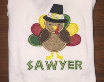 Thanksgiving Pilgrim Turkey Personalized Embroidered Shirt