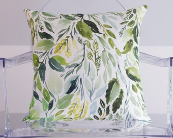 Leaves Watercolor Throw Pillow