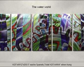 """Original Special Metal Wall Art Modern Abstract Indoor Outdoor Decor Direct From Artist """"The Water world"""""""