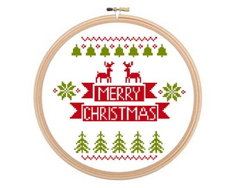 Merry Christmas - Christmas cross stitch pattern, Christmas Pattern, Winter Cross Stitch, Christmas Needlework. Instant download.