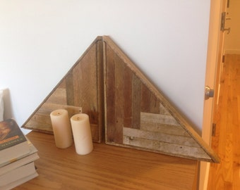 Set of Two- Reclaimed Lath Triangle Wall Hangings - Salvaged Wooden Artwork