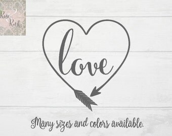 Boho Love Decal, Boho Heart Decal, Boho Arrow Decal, Arrow Heart Decal, Arrow Decal, Boho Decal, Southern Decal, Country Decal