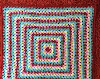 Crochet baby blanket Crochet granny square Cath Kidston colours