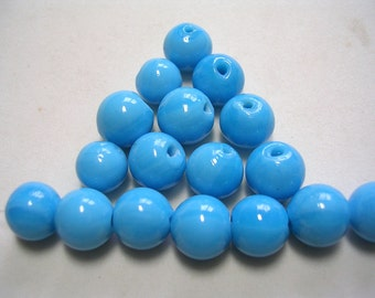 10mm Turquoise Blue Beads Smooth Opaque Glass Rounds Beautiful Aqua Glass Beads 25 Beads