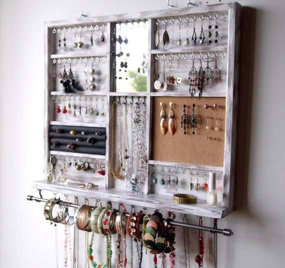 Jewelry Organizers Wall: Jewelry Holder. Large Earrings Display Shelf. White Jewelry
