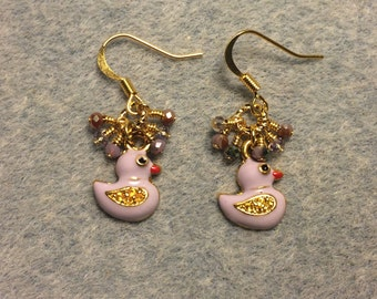 Lavender enamel duck charm earrings adorned with tiny dangling lavender Chinese crystal beads.