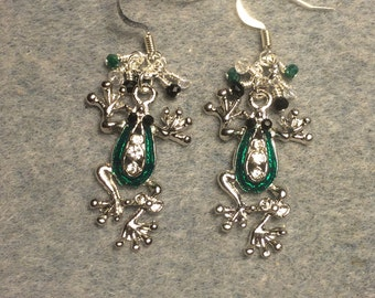 Silver and green enamel and rhinestone frog charm earrings adorned with tiny green, clear and black Chinese crystal beads.