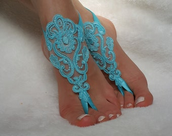 turquoise , mint green ivory lace barefoot sandals beach wedding country wedding bridesmaid accessory bangles anklets bridal gift nude shoes