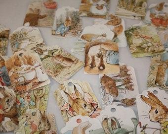 Die Cut Repurposed Children's Peter Rabbit Book Tags (Set of 12)