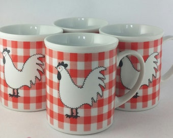 Mid Century Rosenthal Netter Chicken Rooster Mugs Cups, Red and White Checked, Vintage, Japan