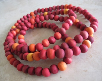 shades of fire, handmade wooden beads necklace