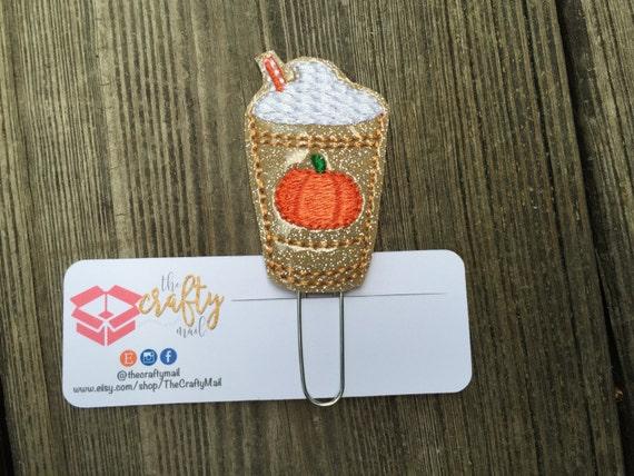 Gold Glitter Pumpkin Spice Frappucino Planner Clip/Paper Clip/Feltie Clip. Coffee Planner Clip