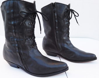 SEYCHELLES black cowboy western lace up boots size 10