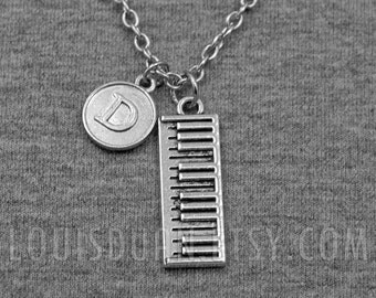 Piano Necklace -Pianist Necklace -Initial Charm Necklace -Your Choice of A to Z