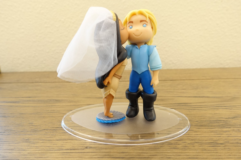Pocahontas and John Smith Topper Wedding Cake Topper