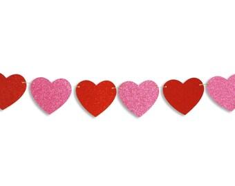 Heart glitter garland, Valentine's Day heart banner, Valentine's Day decoration, hearts photo prop, Valentine Heart Bunting