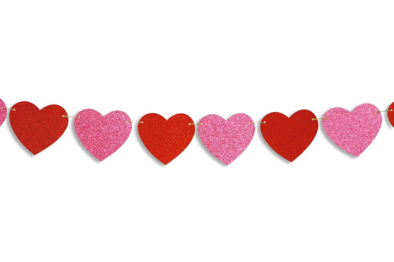 Heart glitter garland Valentine's Day heart banner