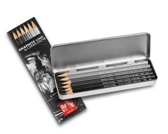 Caran D'Ache Graphite Line - assorted 6 pencils - Made in Switzerland - finest graphite pencils in the world!