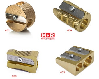 Mobius + Ruppert (M+R) Brass Pencil Sharpener - choose from 4 shapes!  Made in Germany - finest in the world!