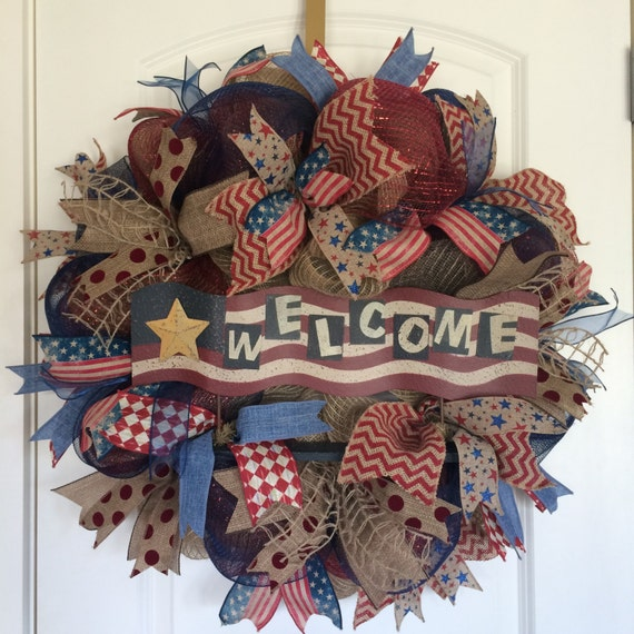 Flash sale patriotic wreath welcome wreath 4th of july for Patriotic welcome home decorations