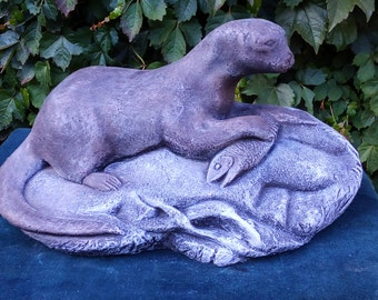 Otter with Fish Statue