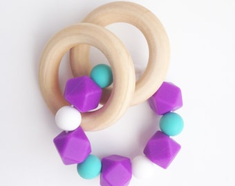 Silicone Double Teething Ring, Purple Teething Beads, Silicone Ring Teether, Wooden Teething Ring, Teething Beads, Tula Teether, Baby toy