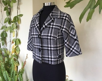 50s 60s style wool blend black and white check vintage jacket coat cropped pea Tommy Hilfiger houndstooth