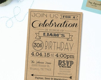 "PDF & JPEG OPTION 30th, 40th, 50th, 60th, etc. Kraft | Brown Bag | Birthday Invitation | 5""x7"" | Customizable"