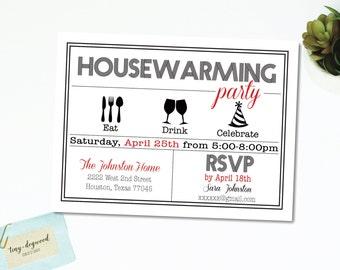 "Eat   Drink   Celebrate   Party Printable Housewarming Invitation PDF, 5""x7"", Digital PDF File, Customizable"