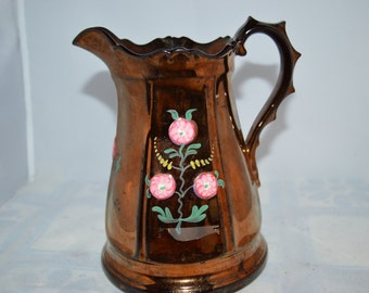 Lusterware Pitcher / copper / vintage pitcher / pink flowers / hand painted / pitcher / beverage pitcher / drinkware / dining / copper color