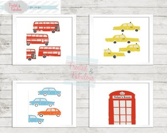 Transportation Prints, Toddler Room Prints, London Print, Vintage Vehicle Prints