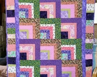 "Crazy Colorful Quilt, 42""x 52"""