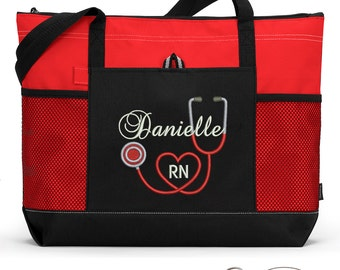 Rn, Lpn, Nurse, Cna Personalized Zippered Tote Bag With Mesh Pockets, Beach Bag, Boating