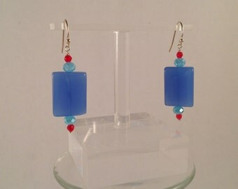 blue rectangle glass earrings