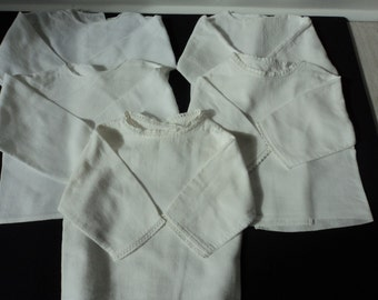 Five French vintage white cotton babies blouse / vest / undergarment  (02947)