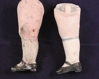 "antique german porcelain doll legs, damaged, painted, 2.28"""
