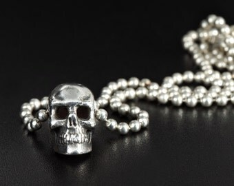 Dainty Skull Pendant-Sterling Silver small Skull Pendant-Human Skull Necklace-Mens Skull Necklace-Mens Skull Pendant-Dainty Skull Necklace
