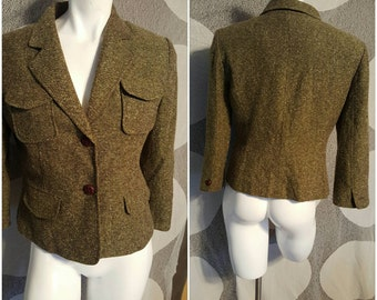 75--Vintage coat- Size small-Retro fashion- Trendy-Suit-Pockets-Earthcolor-Sporty-Hunting-Equstrian fashion-Causal- office-Formal-Party-